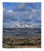 Spring Snow On Squaw Butte Fleece Blanket