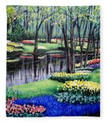 Spring Spendor Tulip Garden Fleece Blanket