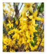 Spring - Sprig Of Forsythia Fleece Blanket