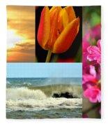 Spring Summer Collage Fleece Blanket