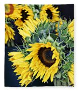 Spring Sunflowers Fleece Blanket