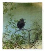 Spring Tree And Crow Fleece Blanket