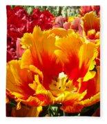 Spring Tulip Flowers Art Prints Yellow Red Tulip Fleece Blanket