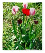 Spring Tulips Fleece Blanket