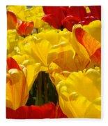 Spring Tulips Art Prints Yellow Red Tulip Flowers Fleece Blanket