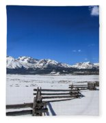 Spring View Of The Sawtooth Mountains Fleece Blanket