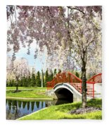 Spring Walk Around Lake Fleece Blanket