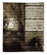 spring water memories - A letter and hand print composition beside a vintage griffin Fleece Blanket