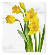Spring Yellow Daffodils Fleece Blanket