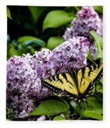 Springtime Lilac And Butterfly Fleece Blanket