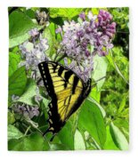 Springtime Moments- The Butterfly And The Lilac  Fleece Blanket