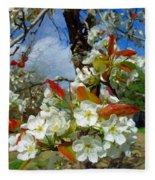 Springtime Pear Blossoms - Hello Spring Fleece Blanket