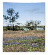 Springtime Texas Bluebonnets Naturalized Fleece Blanket