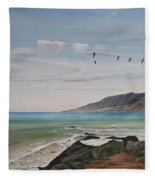 Squadron Of Pelicans Central Califonia Fleece Blanket