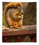 Squirrel Eating A Peanut Fleece Blanket