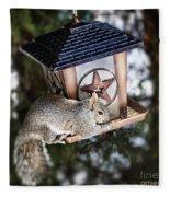 Squirrel On Bird Feeder Fleece Blanket