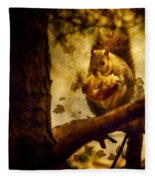 Squirrel With Pear Fleece Blanket