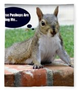 Squirrely Push Ups Fleece Blanket