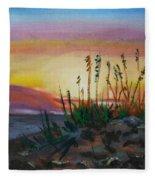 Beach At Sunrise Fleece Blanket