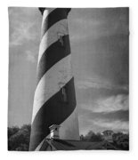 St Augustine Lighthouse Bw Fleece Blanket