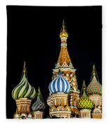 St. Basil's Cathedral At Night Fleece Blanket