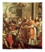 St. Bernard Of Clairvaux 1090-1153 And William X 1099-1137 Duke Of Aquitaine Oil On Canvas Fleece Blanket