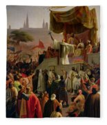 St Bernard Preaching The Second Crusade In Vezelay Fleece Blanket