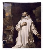 St Bruno Praying In Desert Fleece Blanket