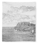 St Catherines Rock Tenby 2 Fleece Blanket