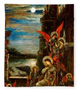 St Cecilia The Angels Announcing Her Coming Martyrdom Fleece Blanket