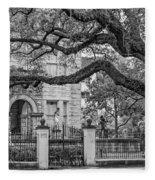 St. Charles Ave. Mansion 2 Bw Fleece Blanket