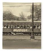 St. Charles Ave. Streetcar Sepia Fleece Blanket