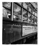St. Charles Ave Streetcar Whizzes By-black And White Fleece Blanket