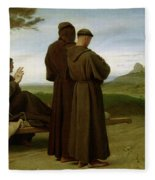 Saint Francis Of Assisi, While Being Carried To His Final Resting Place At Saint-marie-des-anges Fleece Blanket