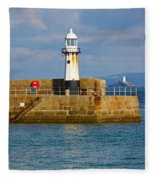 St Ives And Godrevy Lighthouses Cornwall Fleece Blanket