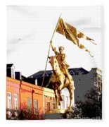 St Joan Of Arc Statue At Dawn Fleece Blanket