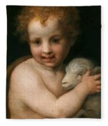 St. John The Baptist With The Lamb Fleece Blanket
