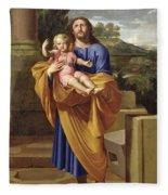 St. Joseph Carrying The Infant Jesus Fleece Blanket