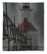 St. Joseph North Pier Lighthouse Lake Michigan Fleece Blanket