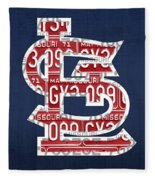 St. Louis Cardinals Baseball Vintage Logo License Plate Art Fleece Blanket