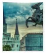 St. Louis Cathedral And Andrew Jackson- Artistic Fleece Blanket