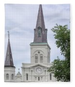 St. Louis Cathedral Through Trees Fleece Blanket
