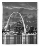St. Louis Skyline At Dusk Gateway Arch Black And White Bw Panorama Missouri Fleece Blanket