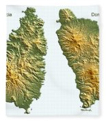 St Lucia And Dominica Map Fleece Blanket