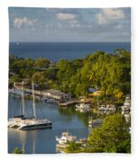 St Lucia Harbor Fleece Blanket
