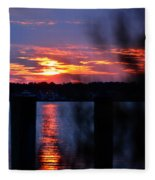 St. Marten River Sunset Fleece Blanket