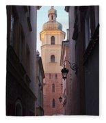 St. Martin's Church Bell Tower In Warsaw Fleece Blanket