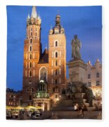 St Mary Basilica And Adam Mickiewicz Monument At Night In Krakow Fleece Blanket