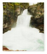 St Mary Falls Glacier National Park Fleece Blanket