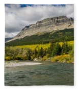 St. Mary River And East Flattop Mountain Fleece Blanket
